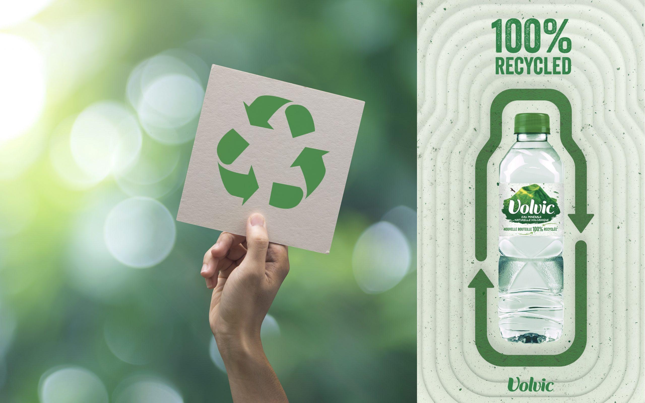 Evian und Volvic von Danone – 100% rPET* und weltweit klimaneutral zertifiziert